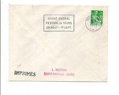 FLAMME FESTIVAL DE CHANT CHORAL à TOURS GARE 1962 - Marcofilie (Brieven)