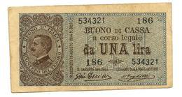 1 LIRA BUONO DI CASSA VITTORIO EMANUELE III 28/12/1917 BB+ - [ 1] …-1946 : Royaume