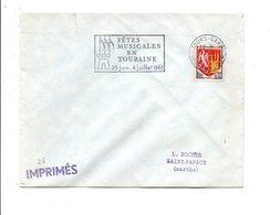 FLAMME FETES MUSICALES EN TOURAINE TOURS GARE 1965 - Marcofilie (Brieven)