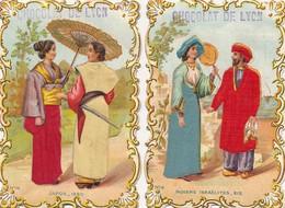 I112 - IMAGE - 2 Images Chromo Et Tissus - Publicité Chocolat De Lyon - Japon - Indiens Israelites - Andere