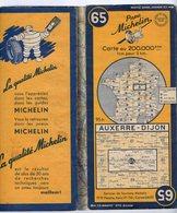 Carte Géographique MICHELIN - N° 065 AUXERRE - DIJON 1952 - Strassenkarten