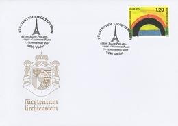 OBLIT. ILLUSTRÉE TOUR EIFFEL - LIECHTENSTEN - SALON AUTOMNE PARIS 11/2007 - Marcophilie - EMA (Empreintes Machines)