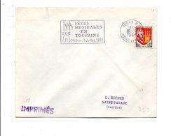 FLAMME FETES MUSICALES EN TOURAINE TOURS RP 1966 - Marcofilie (Brieven)