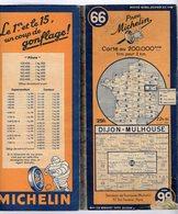 Carte Géographique MICHELIN - N° 066 DIJON - MULHOUSE 1946 - Cartes Routières