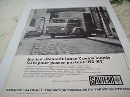 ANCIENNE PUBLICITE PASSER PARTOUT CAMION SAVIEM  RENAULT 1964 - Trucks