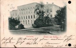 ! Alte Ansichtskarte Gruss Aus Halle An Der Saale, Gymnasium, 1898 - Halle (Saale)