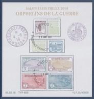 = Bloc Oblitéré Orphelins De La Guerre Salon Paris Philex Daté 05.03.18 F5226 5227 5228 5229 5230 5231 5232 5233 - Used