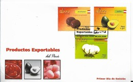 PERU 2008 FDC PRODUCTS FOR EXPORTS, SET OF 3, FRUITS, COTTON. FIRST DAY COVER FIRST DAY CANCEL - Perú
