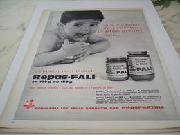 ANCIENNE PUBLICITE REPAS POUR BEBE PHOSPHATINE ET REPAS FALI 1964 - Affiches