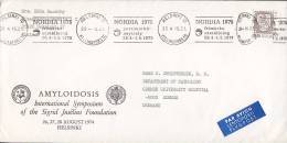 Finland Par Avion Flygpost Label AMYLOIDOSIS International Symposium HELSINKI, NORDIA 1975 Cover Brief ODENSE Denmark - Airmail