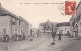18. NEUVY DEUX CLOCHERS. CPA . ANIMATION. GRANDE RUE .EGLISE.  ANNEE 1915 + TEXTE - Autres Communes