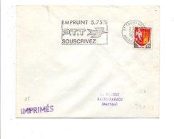 FLAMME EMPRUNT PTT 5.75 % TOURS GARE 1966 - Marcofilie (Brieven)