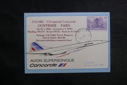 BELGIQUE - Carte Du Vol Spécial Ostende / Paris En 1982 Par Concorde - L 41207 - Belgium
