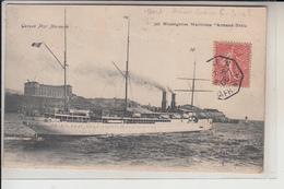 "PAQUEBOTS -   "" Armand Behic ""  Messageries Maritimes  ..1906  (cachet Du Paquebot ) - Steamers"