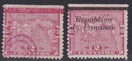 Panama, Scott #72b, 133, Used/Mint Hinged, Map Overprinted, Issued 1903 - Panama