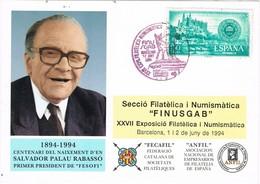 33722. Tarjeta Federacion BARCELONA 1994. FINUSGAG, Aguas Barcelona. Font CAPUXETA - 1931-Hoy: 2ª República - ... Juan Carlos I