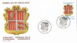 33723. Carta F.D.C. ANDORRA Española 1987. Trovada Dels Coprinceps. Escudo Andorra - Andorra Española