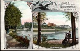 !  Alte Ansichtskarte Aus Halle An Der Saale, 1908 Gruss Von Der Rabeninsel - Halle (Saale)