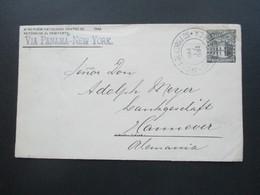 El Salvador 1897 GA Umschlag  K1 Foreign N.Y. Transit Via Panama - New York Schiffspost Mit Ak Stempel K1 Hannover - El Salvador