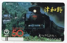 JAPON TELECARTE ANCIENNE NTT FRONTBAR BARCODE 350-010 TRAIN - Trains