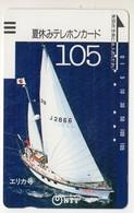 JAPON TELECARTE ANCIENNE NTT FRONTBAR BARCODE 290-029 SPORT VOILE - Sport