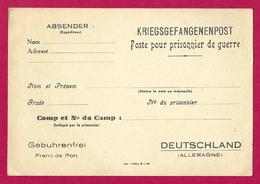 Document Postal Pour Prisonnier De Guerre Vierge De La Seconde Guerre Mondiale - 1939-45