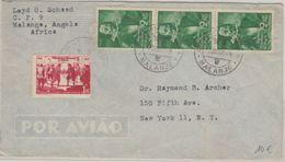Angola - 3x2+1 A. 1648-1948 Luftpostbrief N. USA Malanje - New York 1949 - Angola