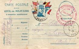 CARTEDE FRANCHISE AUX DRAPEAUX -CAD SAVIERES -AUBE 1915 +CACHET ROUGE 6EME ESCADRONS MILITAIRE 41 EME COMPAGNIE DU TRAIN - Franchise Militaire (timbres)