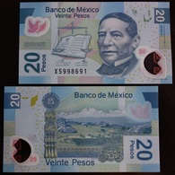 MEXICO 2019 $20 JUAREZ POLYMER Banknote + NEW SERES AD + Mint Crisp, Scarce Thus - Mexico