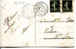 N°75117 -cachet Manuel Double Cercle Coubon Hte Loire - Marcofilia (sobres)