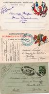 3 CARTES DE FRANCHISE MILITAIRE  1915-16-17 TB - Franchise Militaire (timbres)