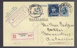 CP 101 I Recommandée + 320 ( Képi ) Antwerpen 8c 31 X 1933 => La Ville - Postwaardestukken