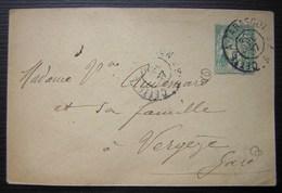 Cette à Tarascon 1907 Convoyeur Avec Centre Hexagonal Sur Petite Enveloppe Entier Postal Pour Vergèze (Gard) - Poststempel (Briefe)