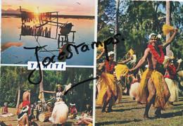 Polynésie Française Tahiti Coucher De Soleil Sur Moorea Danseurs D'Otea - Polinesia Francese