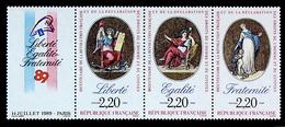 FRANCE 1989 BICENTENARY FRENCH REVOLUTION VERY FINE MNH STRIP #2143-45a - Ungebraucht