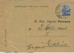 """ROMANO DI LOMBARDIA(BERGAMO)-RICEVUTA DI NOTIFICAZIONE MATRIMONIO,1950,PER PARROCCHIA DI """"S.VITTORE M.""""CALCIO(BERGAMO), - Nozze"""