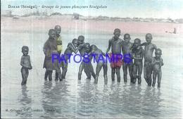 118634 AFRICA DAKAR SENEGAL COSTUMES NATIVE GROUP CHILDREN NUDE POSTAL POSTCARD - Cartoline