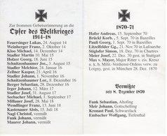 Bad Feilnbach, Altofing, Gottschalling, Schwarzlack, Tiefenthal - Opfer Der Weltkriege 1914-18 -- 1870-71 - Andachtsbilder