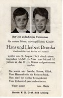 Sterbebild - Hans Und Herbert Dronka - Heufeld (Bruckmühl) 1963 - Andachtsbilder
