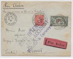 RAID INTERROMPU Par ACCIDENT - 1929 - ENVELOPPE RECOMMANDEE Par AVION De CHALONS / MARNE Pour HANOI - FRANCE INDOCHINE - Postmark Collection (Covers)