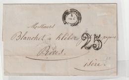 Lettre Avec Oblitération Peu Lisible Du Corps Expéditionnaire D'Italie /Quartier Général + Taxe 25 , 1852 - 1849-1876: Periodo Classico