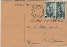 """CUMIGNANO SUL NAVIGLIO(CREMONA)-RICEVUTA NOTIFICAZIONE MATRIMONIO,1951,PER PARROCCHIA DI """"S.VITTORE M.""""CALCIO(BERGAMO), - Nozze"""