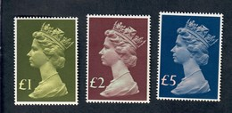 Great Britain 1977 QUEEN ELIZABETH HEADS 1,2,5, POUNDS Fra.1207 - Nuovi
