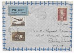 FINLANDE - 1947 - ENVELOPPE FDC Par AVION De HELSINKI => REIMS - Briefe U. Dokumente