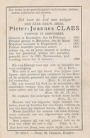 Pastoor Pieter-Joannes CLAES - (Houthalen 1803 - Diepenbeek 1892) - Esquela