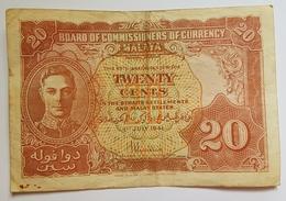 BILLET MALAISIE - ADMINISTRATION BRITANNIQUE - P.9a - 20 CENTS - 1ER JUILLET 1941 - ROI GEORGE VI - ARMOIRIES - Malaysia
