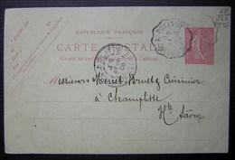 Cunfin à Polisot 1906 Cachet Convoyeur Sur Une Carte Entier Postal Pour Champlitte - Postmark Collection (Covers)