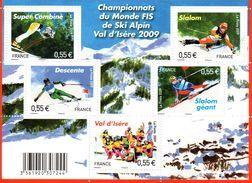 France.bloc No F4329 De 2009.championnats Du Monde Val D Isere.n**. - Blocs & Feuillets