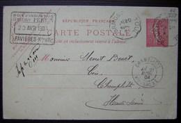 Bourmont à Toul 1904 Convoyeur Sur Une Carte De Favières (Meurthe Et Moselle) Gustave Perrin Bois, Pour Champlitte - Poste Ferroviaire