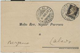 """CIVIDATE AL PIANO(BERGAMO)-RICEVUTA NOTIFICAZIONE MATRIMONIO,1927,PER PARROCCHIA DI """"S.VITTORE M.""""CALCIO(BERGAMO), - Nozze"""